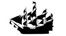 Sailing Ship On White Background