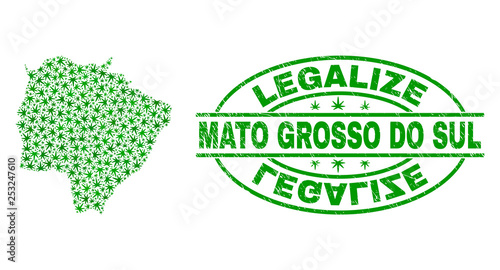 Fotografija  Vector cannabis Mato Grosso do Sul State map mosaic and grunge textured Legalize stamp seal