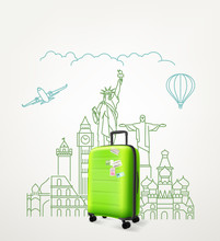 Around The World Concept With Green Travel Bag. Vector Illustration With Bag Travel
