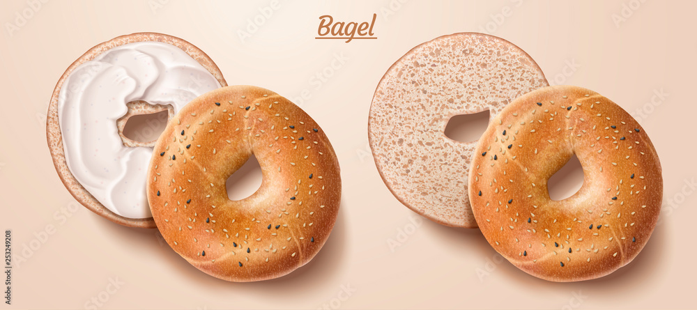 Fototapety, obrazy: Delicious bagel with cream