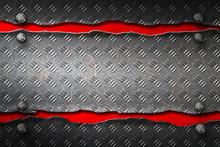 Black Metal Banner On Red Metal Plate.