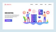 Vector Web Site Design Template. Web Hosting And Datacenter. Landing Page Concepts For Website And Mobile Development. Modern Flat Illustration.