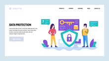 Vector Web Site Design Template. Data Protection, Privacy And Secure Access. Landing Page Concepts For Website And Mobile Development. Modern Flat Illustration.