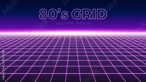 Fotobehang Violet Perspective grid, retro 80s design element, neon colors