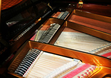 Grand Piano Strings. Mechanism Of Piano, Closeup