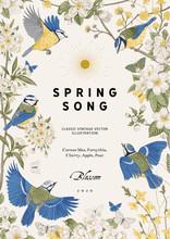 Spring Song. Classis Vintage Illustration. Blossom Garden.