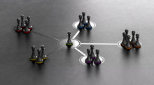 Leadership And Team Cohesiveness Over Black Background