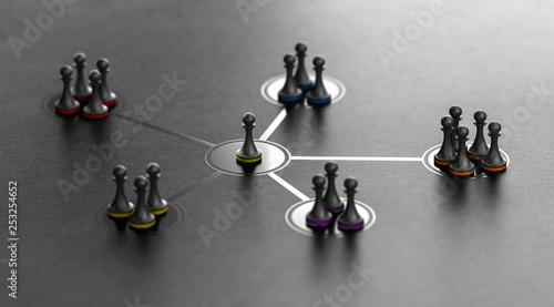 Fototapeta Leadership And Team Cohesiveness Over Black Background obraz