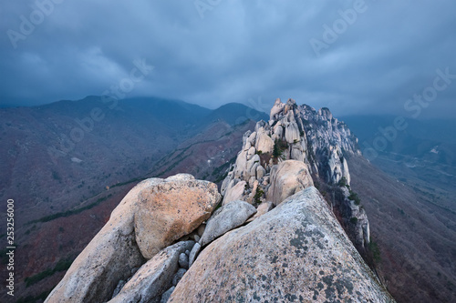 Photo Stands Mountaineering View from Ulsanbawi rock peak. Seoraksan National Park, South Corea