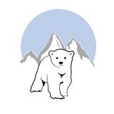 Vector logo white bear in mountain
