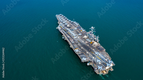 Fényképezés Navy Nuclear Aircraft carrier, Military navy ship carrier full loading fighter jet aircraft, Aerial view