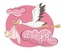 It's A Girl -- Card. Vector Illustration, Stork Bears Baby.