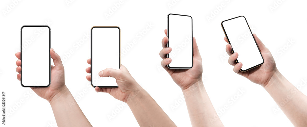 Fototapety, obrazy: Set of four smartphones, blank screen and isolated on white background