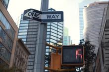 One Way Sign On New York Street