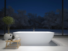 Modern Minimalist Bathroom With Large Windows And A Nice View. 3d Rendering