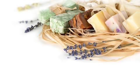 Fototapeta Lawenda Handmade Soap on a white background