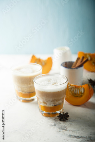 Pumpkin latte with cinnamon