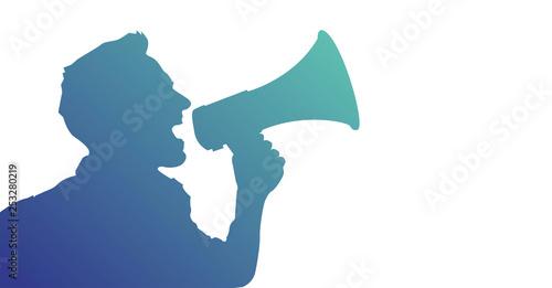 Cuadros en Lienzo megafono, manifestazione, comunicazione, comunicare
