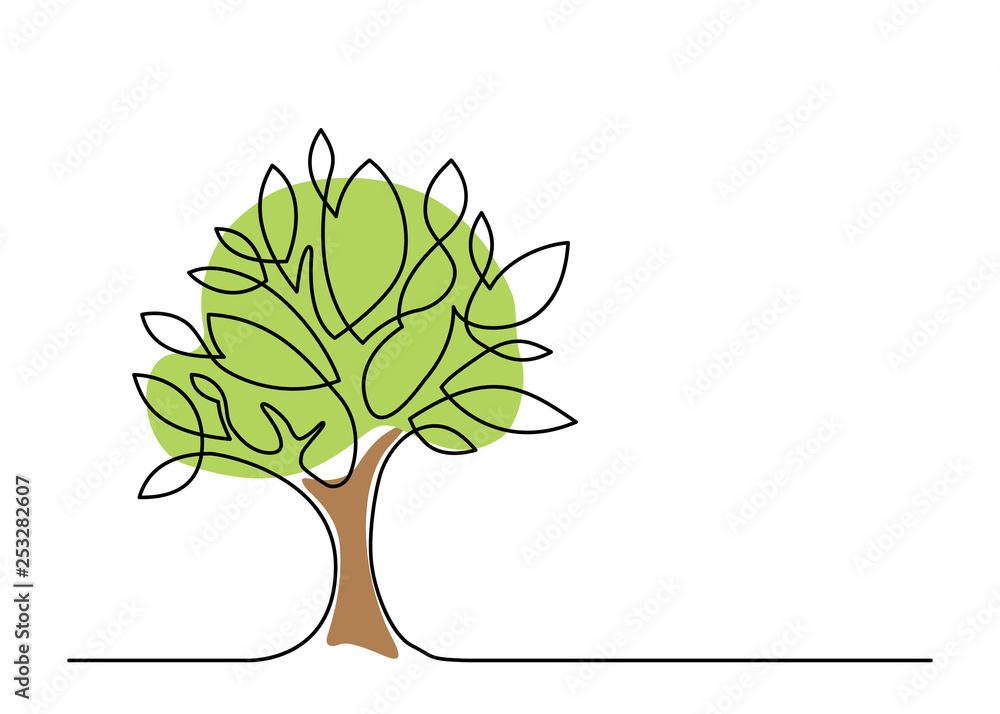 Fototapety, obrazy: tree one line color