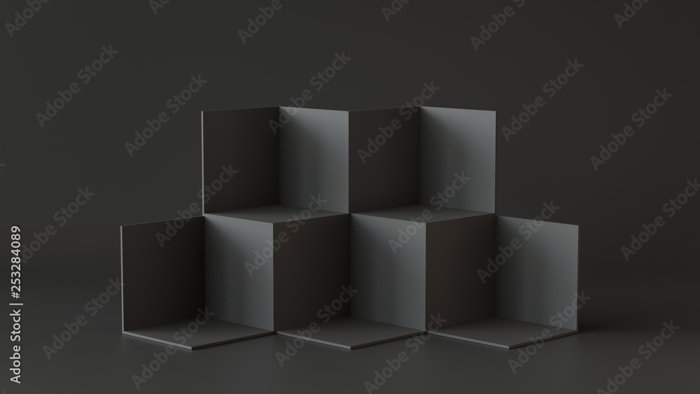 Fototapeta Black cube boxes with dark wall background. 3D rendering.