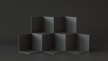 Black Cube Boxes With Dark Wal...