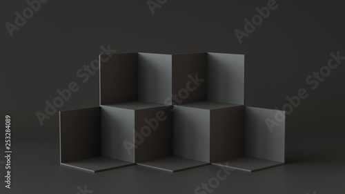 Black cube boxes with dark wall background. 3D rendering. Poster Mural XXL