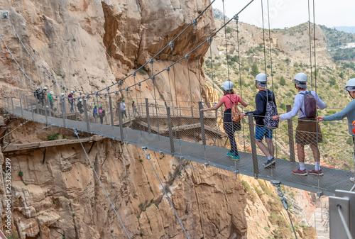 Bridge in gorge of the Gaitanes in el Caminito del Rey (The King's Little Path) Wallpaper Mural