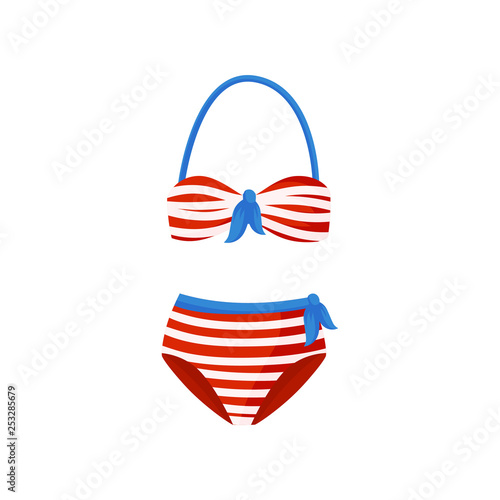 Swimsuit And Piece Bathing Blue BowsTwo With Red Striped White qMVUzGSp