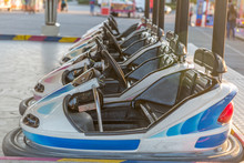 Bumper Cars At A Fair, Lined Up And Ready