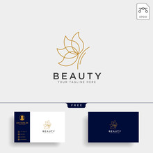 Butterfly Beauty Cosmetic Line Art Logo Template Vector Illustration Icon Element
