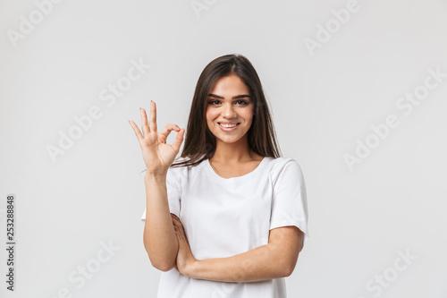 Fototapeta Portrait of a beautiful young woman casualy dressed obraz na płótnie