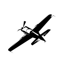 Airplane Race, Isolated Vector Silhouette. Aircraft Logo