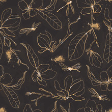 Seamless Pattern With Golden F...