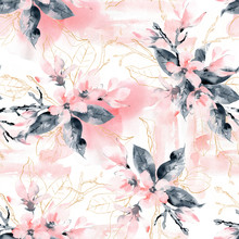 Seamless Pattern With Flowers And Leaves. Pink Magnolia Flowers And Black Leaves And Branches.