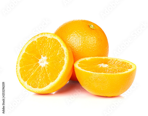 Orange fruit half on white background.