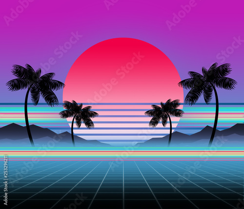 Photo  Glowing neon, synthwave and retrowave background template