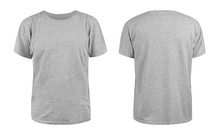 Men's Grey Blank T-shirt Template,from Two Sides, Natural Shape On Invisible Mannequin, For Your Design Mockup For Print, Isolated On White Background..