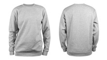Men's Grey Blank Sweatshirt Template,from Two Sides, Natural Shape On Invisible Mannequin, For Your Design Mockup For Print, Isolated On White Background..