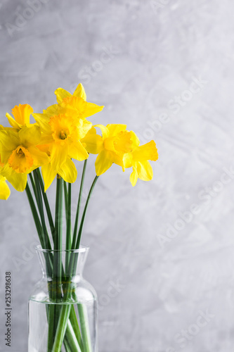 Deurstickers Narcis daffodils, bouquet, glass vase, gray background, copy place