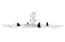 Cartoon Stick Figure Drawing Conceptual Illustration Of Lonely Man Or Castaway Sitting Lost And Alone In The Middle Of Ocean On Piece Of Wood Surrounded By Sharks.
