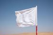 A white flag waving in the desert.