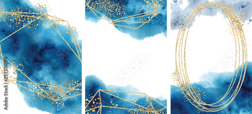 Obraz Watercolor abstract aquamarine, background, watercolour blue and gold texture Vector illustration - fototapety do salonu