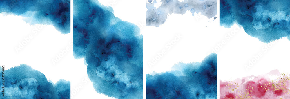 Fototapety, obrazy: Watercolor abstract aquamarine, background, watercolour blue, pink and gold texture Vector illustration