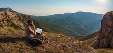 Man Freelancer With Laptop, Ca...