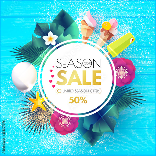 Fototapety, obrazy: Summer Sale Tropical Background with Leaves, Flowers, Balloons. Lights and Neon Effects.