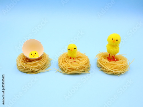 Fotografía  Funny Easter Composition with Nest Pasta