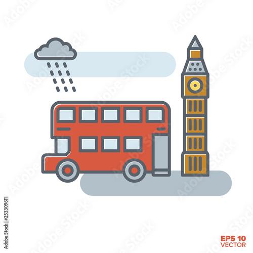 Fotografie, Tablou  London doubledecker bus and Big Ben vector illustration