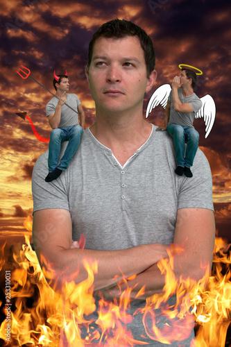 Photo thoughtful one in purgatory