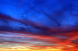 canvas print picture - Colorful sunset sky with big clouds. Nature background.