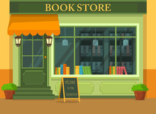 Bookstore Or Shop With Books, Store Showcase